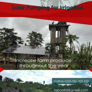 Sepon LTD Solar Pumping project in Mkuranga district irrigates 10 Acre piece of Farm for Paw paw farming through out the year
